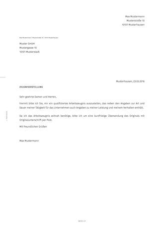 Anschreiben An Den Arbeitgeber Mit Bitte Um Arbeitszeugnis Smartlaw