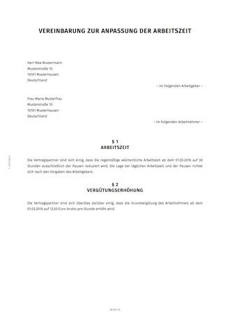 smartlaw nderungsvereinbarung beispiel - Anderung Arbeitsvertrag Muster