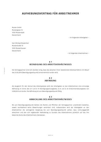smartlaw aufhebungsvereinbarung beispiel - Aufhebungsvertrag Auf Wunsch Des Arbeitnehmers Muster