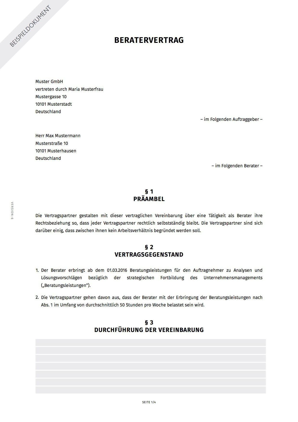 Beratervertrag Erstellen Smartlaw