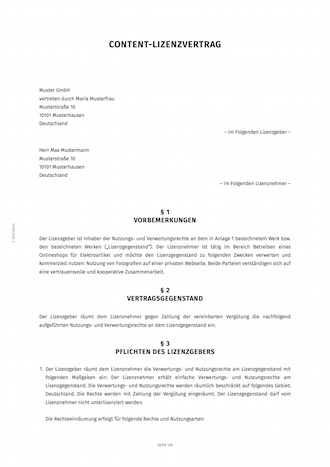 smartlaw lizenzvertrag beispiel - Lizenzvertrag Muster