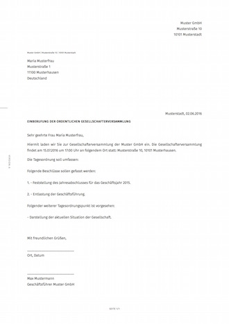einberufung der gesellschafterversammlung | smartlaw, Einladung