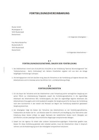 Ruckzahlungsvereinbarung Fur Fortbildungskosten 4