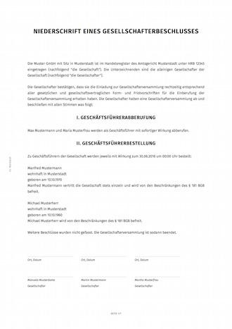 gesellschafterbeschluss geschäftsführer | smartlaw, Einladung