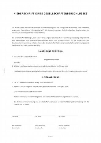 Gesellschafterbeschluss Zur änderung Von Sitzname Der Firma Smartlaw