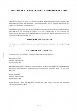 smartlaw gesellschafterbeschluss beispiel - Provisionsvereinbarung Muster