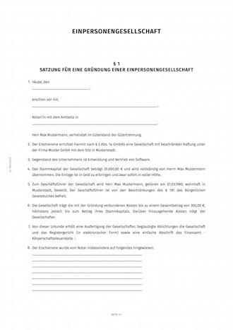 Muster Grundungsurkunde Und Gesellschaftsvertrag