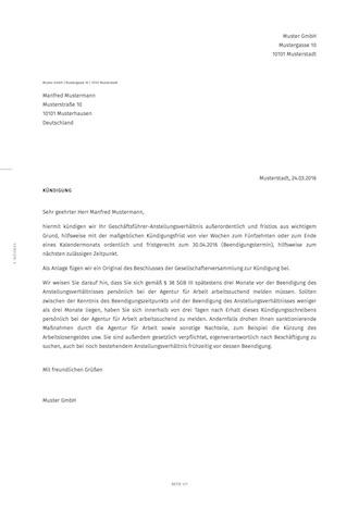 Kündigung Des Geschäftsführers Außerordentlich Smartlaw