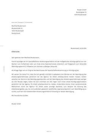 Kündigung Des Geschäftsführers Ordentlich Smartlaw