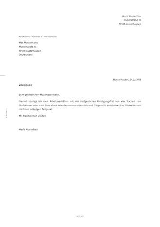 Kündigungsschreiben Für Arbeitnehmer Smartlaw