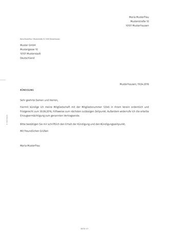 Kündigung Der Vereinsmitgliedschaft Erstellen Smartlaw