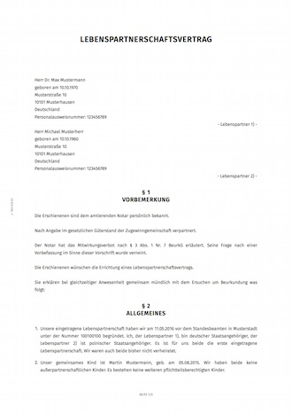 smartlaw lebenspartnerschaftsvertrag beispiel - Gutertrennung Muster