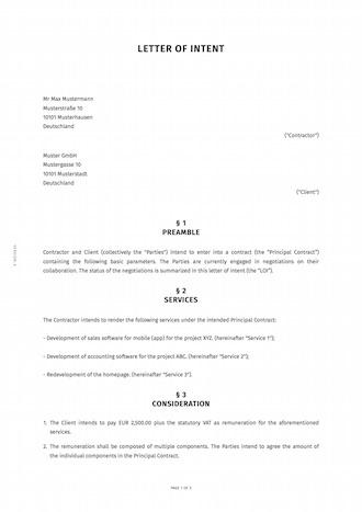 Letter Of Intent Engl Erstellen Smartlaw