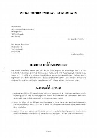 Mietaufhebungsvertrag Fur Gewerbemietvertrage Erstellen