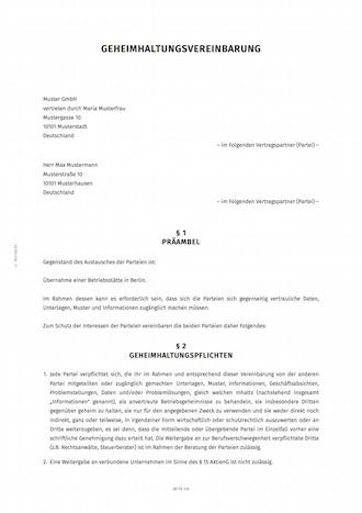 Muster Fur Eine Vertraulichkeitsvereinbarung 4