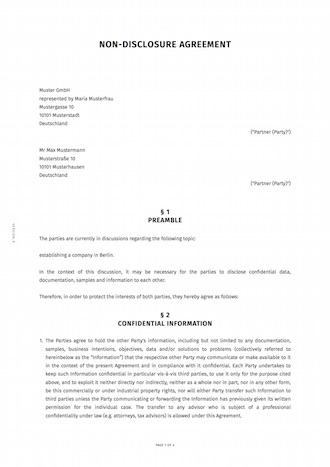 Geheimhaltungsvereinbarung Englisch Smartlaw