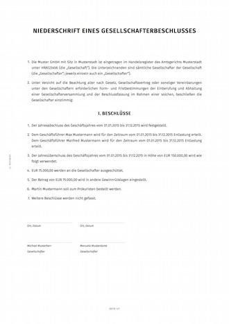 Niederschrift Gesellschafterbeschluss Muster Word Pdf 7