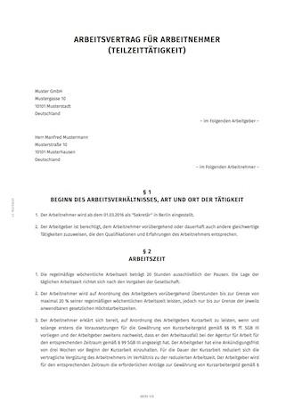 Teilzeit Arbeitsvertrag Erstellen Smartlaw