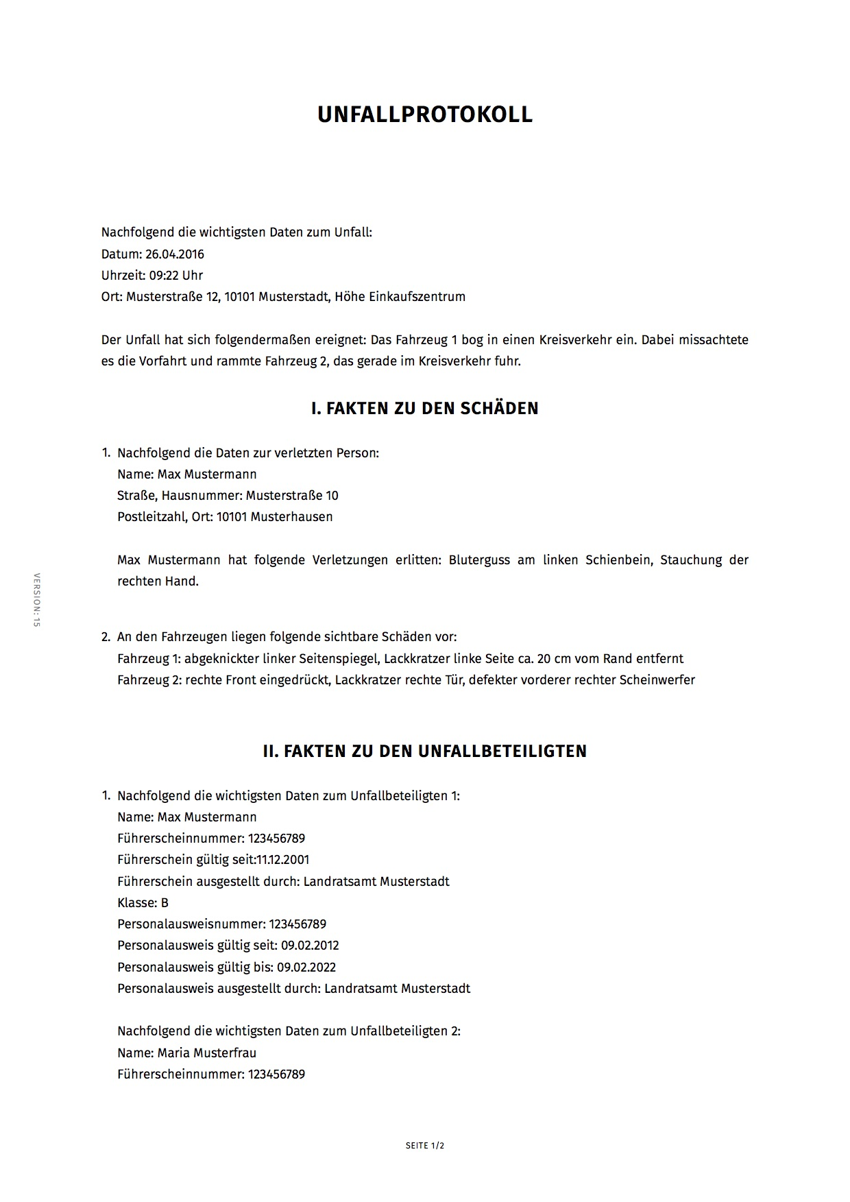 Charmant Unfall Vorlage Bilder - Elektrische Schaltplan-Ideen ...