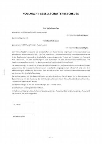 vollmacht für die gesellschafterversammlung | smartlaw, Einladung