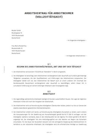 Vollzeit Arbeitsvertrag Erstellen Smartlaw