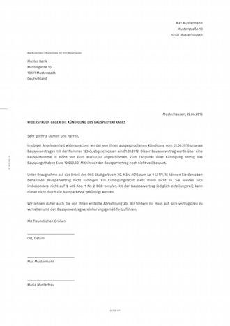 smartlaw widerspruch gegen kndigung des bausparvertrages beispiel - Bausparvertrag Kundigen Muster